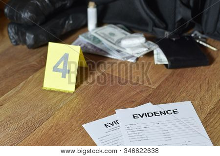 Evidence Chain Of Custody Labels Lies With Big Heroin Packets And Packs Of Money Bills As Evidence I