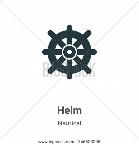 Helm Glyph Icon Vector On White Background. Flat Vector Helm Icon Symbol Sign From Modern Nautical C