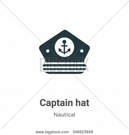 Captain Hat Glyph Icon Vector On White Background. Flat Vector Captain Hat Icon Symbol Sign From Mod