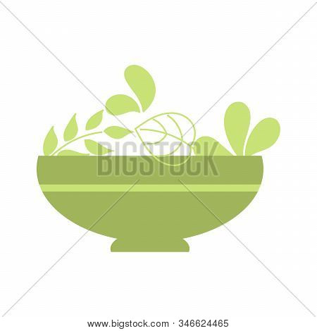 Salads Bowl With Salad, Healthy Lifestyle, Raw Food. Flat Style. Vector Illustration Isolated On Whi