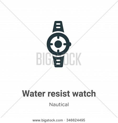 Water Resist Watch Glyph Icon Vector On White Background. Flat Vector Water Resist Watch Icon Symbol