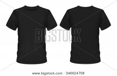 Men T-shirt, Vector Black Mockup Template With Short Sleeve And Round Neck. T-shirt Mockup, Menswear