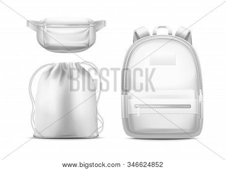 White Backpack, Sport Pouch With Shoulder Ropes And Waist Bag Or Fanny Pack With Zipper Pockets. Vec