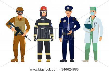 Men Professions Doctor, Policeman, Fireman And Military Guard Vector Isolated Characters. Firefighte