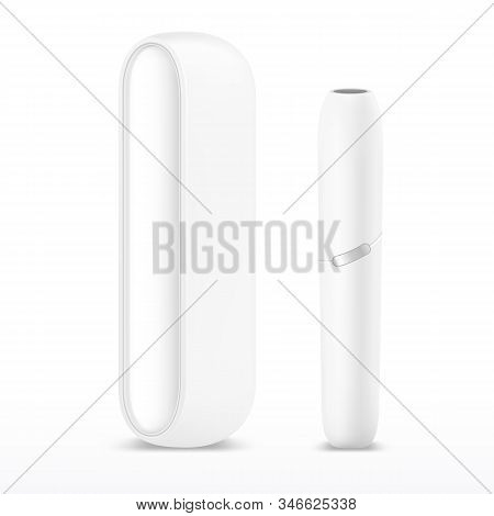 White Isolated Heets Or Electronic Cigarette. 3d Heatstick Or Stick For Smoking. Smoker Technology F