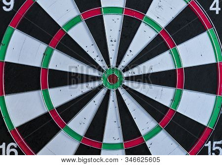 The Target Center Of Dartboard. Success Hitting Tar Get Aim Goal Achievement Concept .darts And Dart