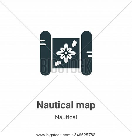 Nautical Map Glyph Icon Vector On White Background. Flat Vector Nautical Map Icon Symbol Sign From M