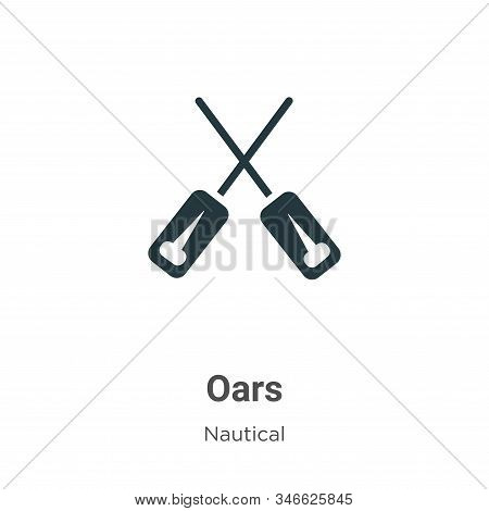 Oars Glyph Icon Vector On White Background. Flat Vector Oars Icon Symbol Sign From Modern Nautical C