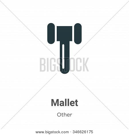 Mallet Glyph Icon Vector On White Background. Flat Vector Mallet Icon Symbol Sign From Modern Other