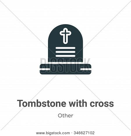 Tombstone with cross icon isolated on white background from other collection. Tombstone with cross i