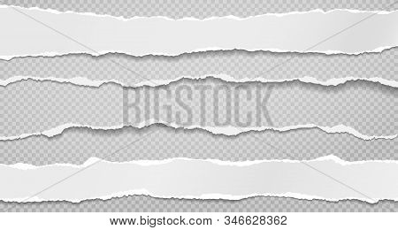 Torn, Ripped Pieces Of Horizontal Blue And White Paper With Soft Shadow Are On Grey Squared Backgrou