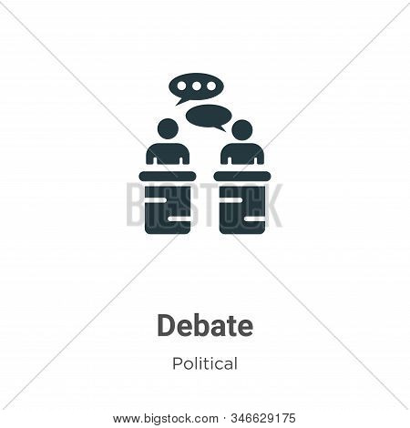 Debate Glyph Icon Vector On White Background. Flat Vector Debate Icon Symbol Sign From Modern Politi