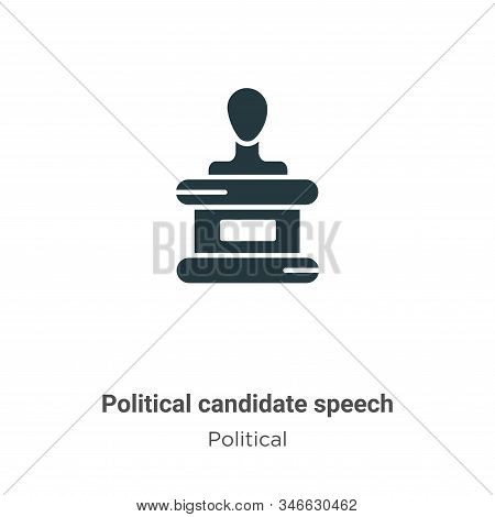 Political Candidate Speech Glyph Icon Vector On White Background. Flat Vector Political Candidate Sp