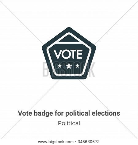 Vote Badge For Political Elections Glyph Icon Vector On White Background. Flat Vector Vote Badge For