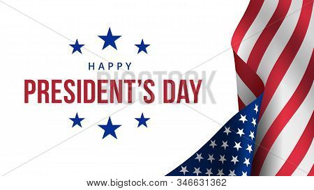 Happy Presidents Day. Festive Banner With American Flag And Text. Creative 3d Style Template. United