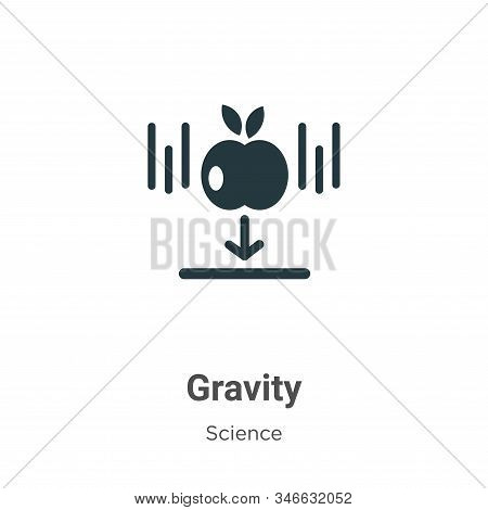 Gravity Glyph Icon Vector On White Background. Flat Vector Gravity Icon Symbol Sign From Modern Scie