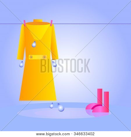Water Clothes Hanging On A Clothesline After A Heavy Storm. Rain Concept