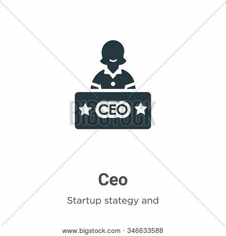 Ceo Glyph Icon Vector On White Background. Flat Vector Ceo Icon Symbol Sign From Modern Startup Stat