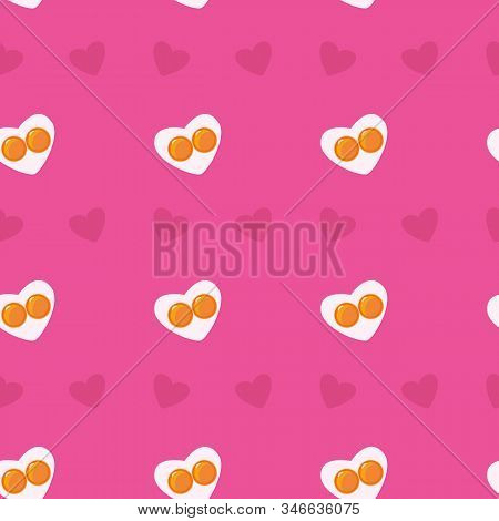 Cute Flat Seamless Valemtine Pink Pattern. Heart-shape Fried Eggs And Hearts. Valentines Day Holiday