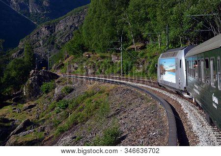 Flam Railway. The Flamsbana is a 20.2-kilometer long railway line between Myrdal and Flam in Aurland, June 17,2018. Flam, Norway, Scandinavia.