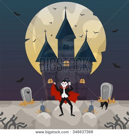 Count Dracula At Castle On Halloween Night Celebration Vector Illustration. Cemetery With Tombstones