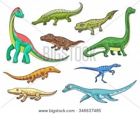 Dinosaur Monster Animal Icons Of Cartoon Dino Reptiles. Prehistoric Brachiosaurus, Mesosaurus, Eryth