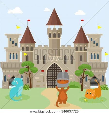 Little Childrens Dragons Play In Front Of Medieval Knights Castles Vector Flat Illustration. Multico
