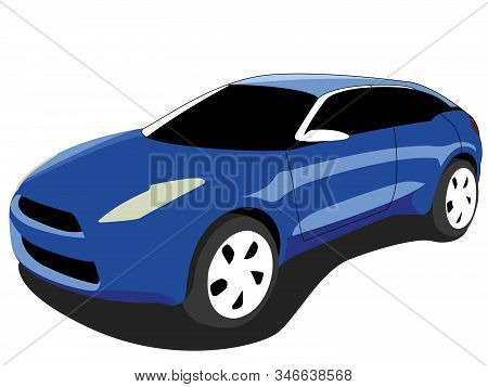 Crossover Car Blue Realistic Vector Illustration Isolated No Background
