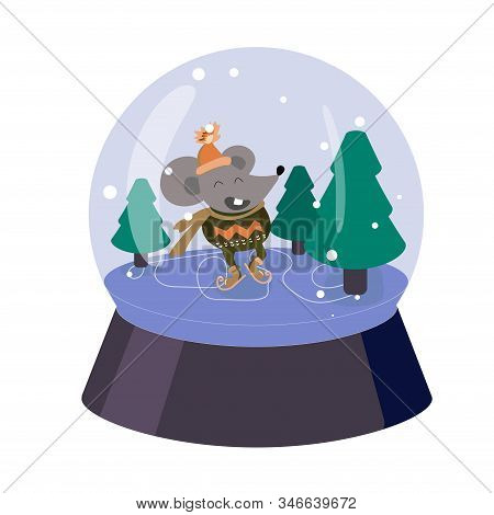 Funny Mouse Skates On Ice. Snow Globe With Christmas Tree. Cartoon Rat In Sweater And Orange Hat. Ca