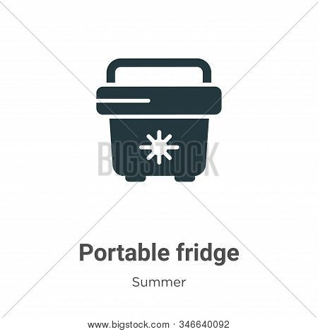 Portable Fridge Glyph Icon Vector On White Background. Flat Vector Portable Fridge Icon Symbol Sign