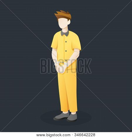 Vector Illustration Prisoner Standing With Handcuffs, Young Man In Prisoner With Handcuffed Hands. C