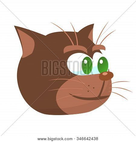 A Drawn Cartoon Cat Face With A Sly Malevolent Expression.