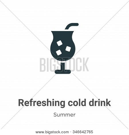 Refreshing Cold Drink Glyph Icon Vector On White Background. Flat Vector Refreshing Cold Drink Icon
