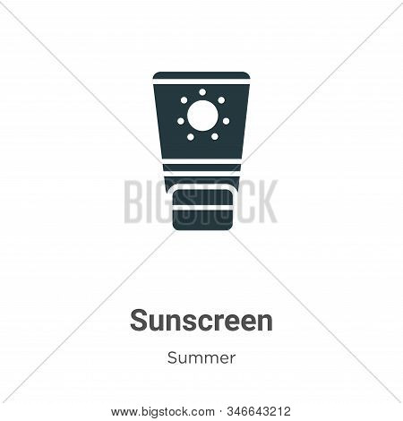 Sunscreen Glyph Icon Vector On White Background. Flat Vector Sunscreen Icon Symbol Sign From Modern