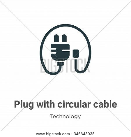 Plug with circular cable icon isolated on white background from technology collection. Plug with cir