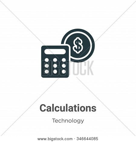 Calculations icon isolated on white background from technology collection. Calculations icon trendy