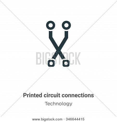 Printed Circuit Connections Glyph Icon Vector On White Background. Flat Vector Printed Circuit Conne