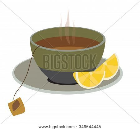 Cup Of Tea With Lemon Isolated On White Vector Illustration.