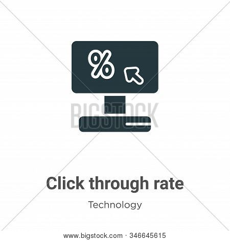 Click Through Rate Glyph Icon Vector On White Background. Flat Vector Click Through Rate Icon Symbol