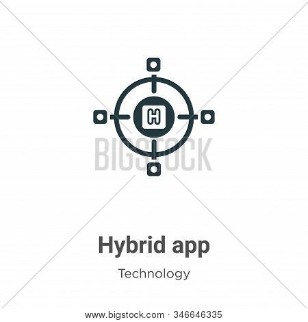 Hybrid app icon isolated on white background from technology collection. Hybrid app icon trendy and