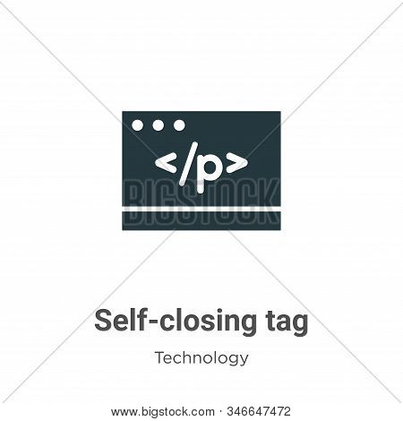 Self-closing Tag Glyph Icon Vector On White Background. Flat Vector Self-closing Tag Icon Symbol Sig