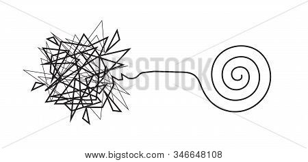 Tangled Broken Line And Untangled Neat Spiral Line, Complex And Simple Knot, Constructing And Solvin