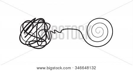Complex Lines Knot Simplified Into Simple Spiral, Complex Problem Solving Icon, Design Concept, Isol