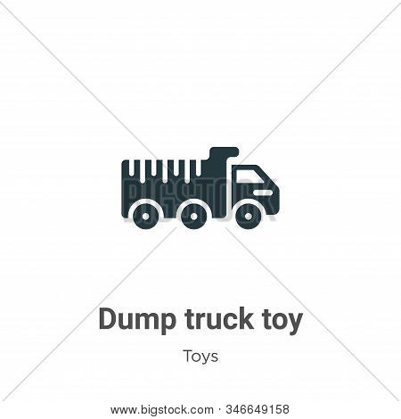 Dump Truck Toy Glyph Icon Vector On White Background. Flat Vector Dump Truck Toy Icon Symbol Sign Fr
