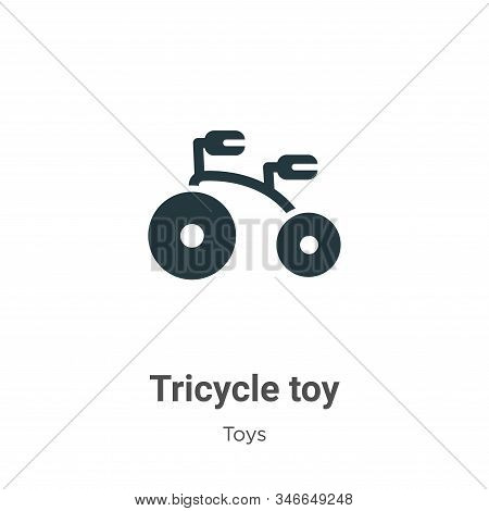 Tricycle Toy Glyph Icon Vector On White Background. Flat Vector Tricycle Toy Icon Symbol Sign From M