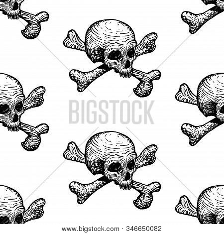 Seamless Pattern With Skulls And Bones On A White Background. Vector Hand Drawing Illustration