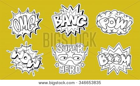 Set Collection Bundle Of Emotions Comics Style Explosion Lettering: Omg, Boom, Bang, Pow, Wow Cartoo