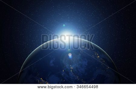Earth from Space with city lights showing human activity in America.  3D rendering elements of this image furnished by NASA
