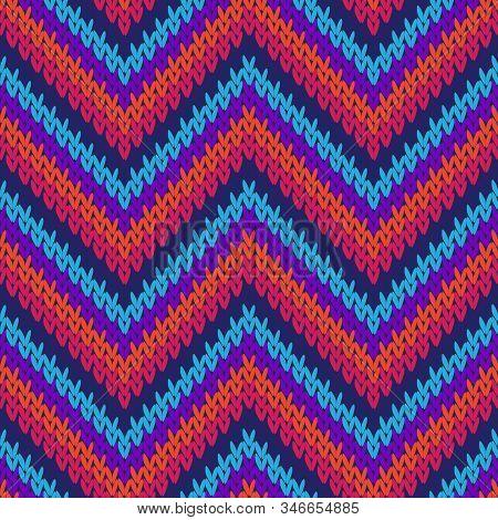 Handicraft Zigzag Chevron Stripes Knitted Texture Geometric Vector Seamless. Rug Knitwear Fabric Pri