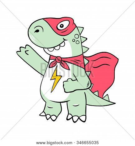 Superhero Super Dino Lizard T-rex In Mask. Doodle Print Design Modern Vector Cartoon Illustration Fo